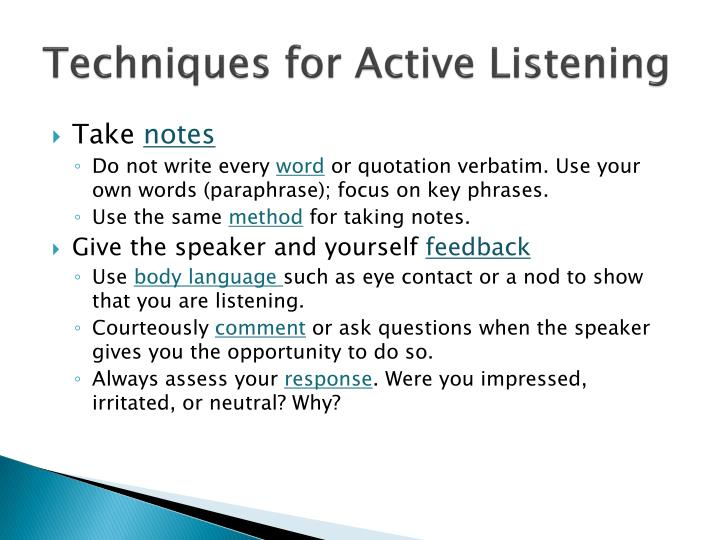 Techniques for Active Listening