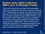 barton asks gao to review nih s use of stimulus funds