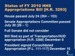 status of fy 2010 hhs appropriations bill h r 3293