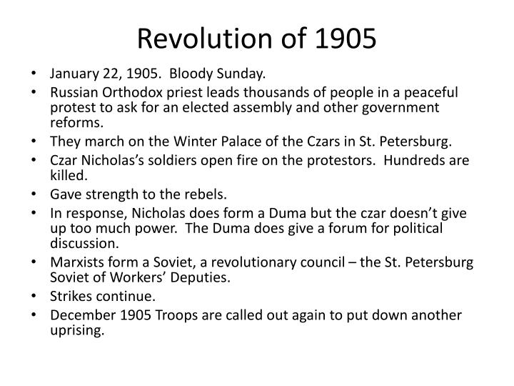 causes of the 1905 russian revolution There were many causes and consequences of the 1905 russian revolution that were never completely successful because there were more revolutions in 1917 in russia, tsar nicholas the second was in power and this was both good and bad.