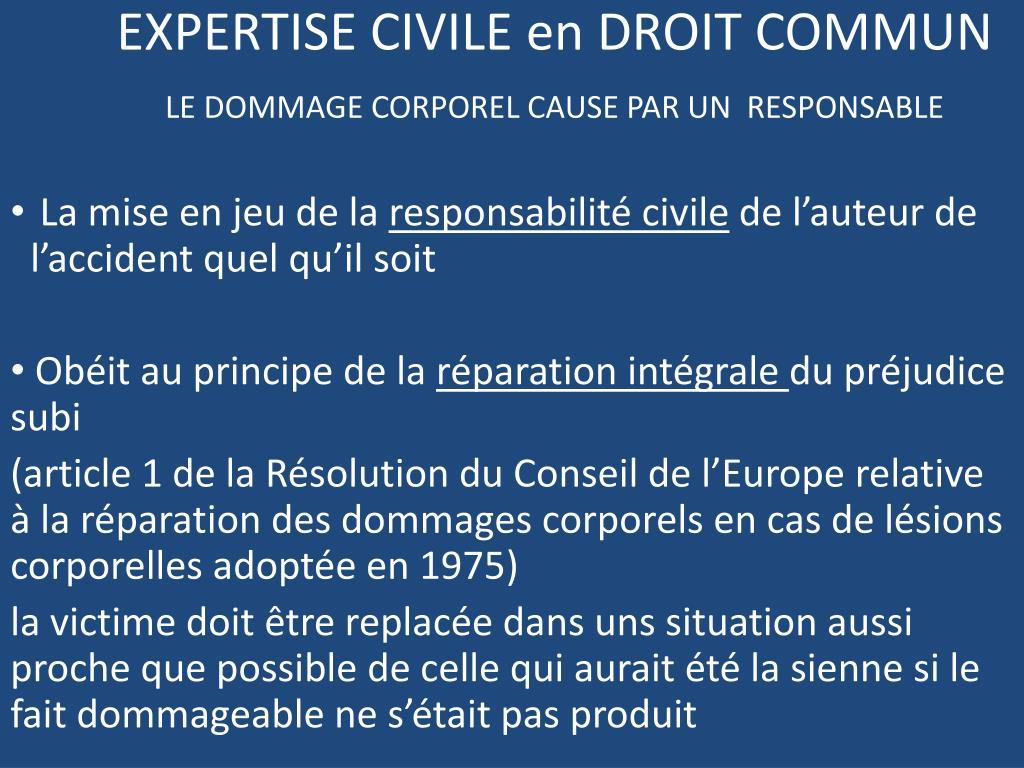 Ppt Expertise Civile En Droit Commun Le Dommage Corporel Cause Par Un Responsable Powerpoint Presentation Id 1879604