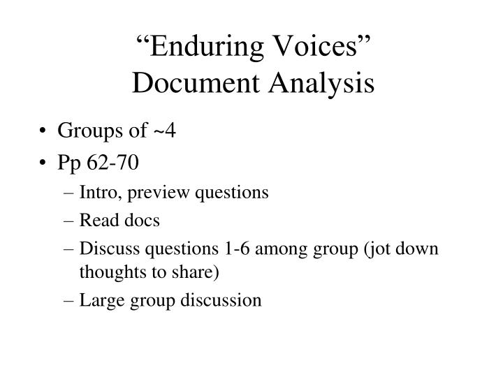 """""""Enduring Voices"""""""