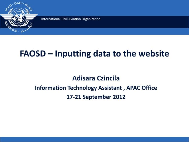 faosd inputting data to the website