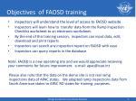 objectives of faosd training