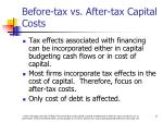 before tax vs after tax capital costs