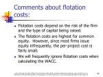 comments about flotation costs