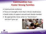 communities can foster strong families
