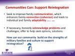 communities can support reintegration