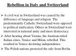 rebellion in italy and switzerland