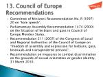 13 council of europe recommendations