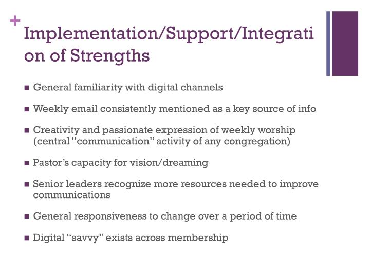 Implementation/Support/Integration of Strengths