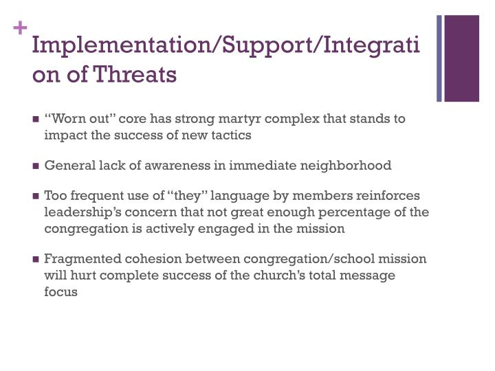 Implementation/Support/Integration of Threats