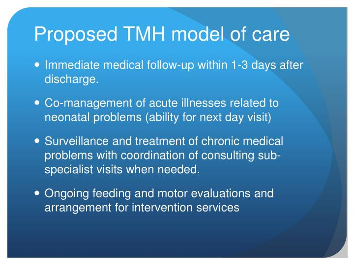 Proposed TMH model of care