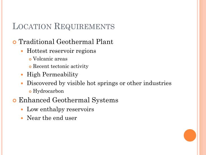 Location requirements