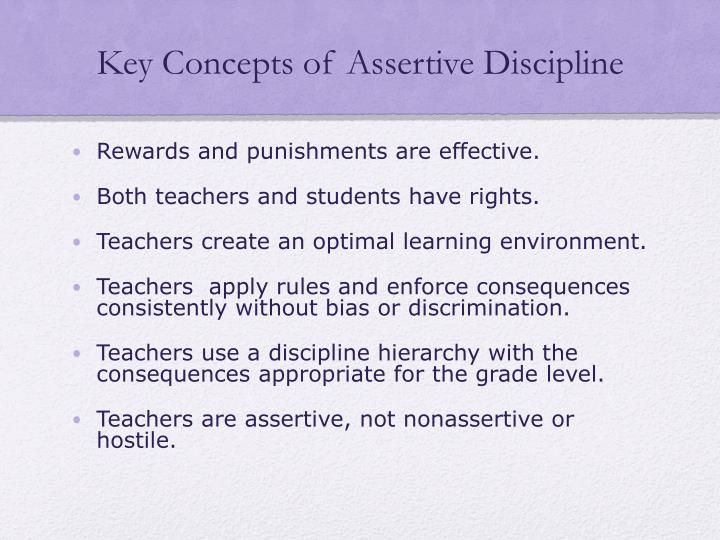Key concepts of assertive discipline