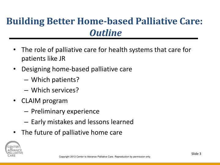 Building better home based palliative care outline