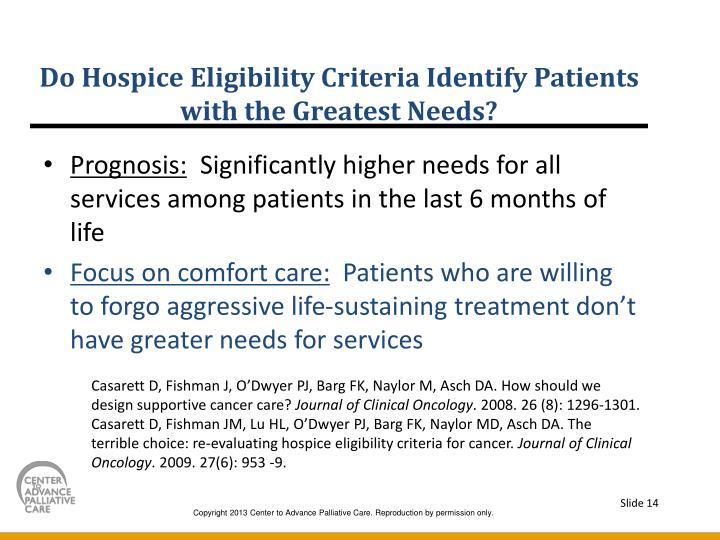 Do Hospice Eligibility Criteria Identify Patients with the Greatest Needs?