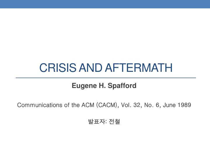 crisis and aftermath n.