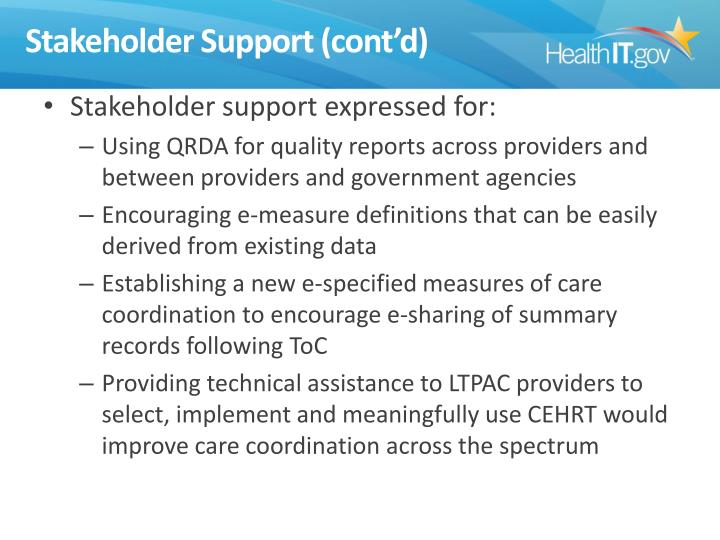 Stakeholder Support (cont'd)