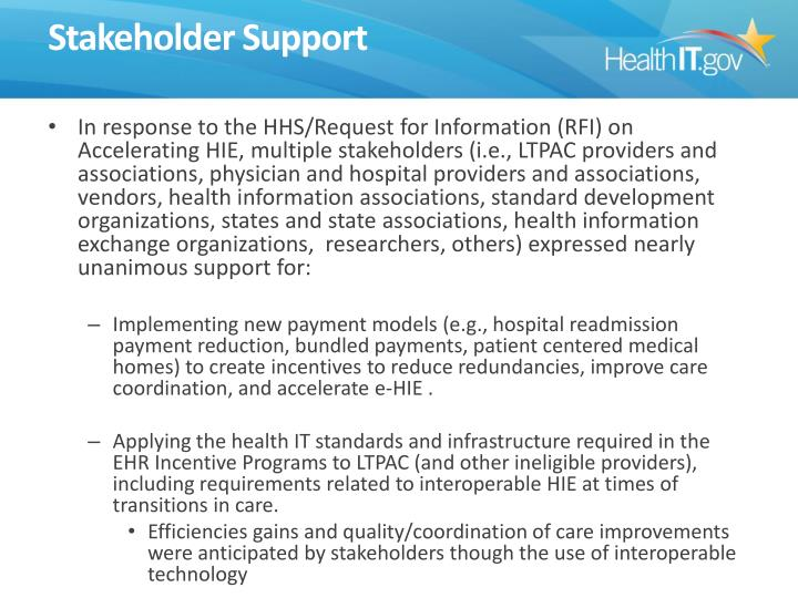 Stakeholder Support