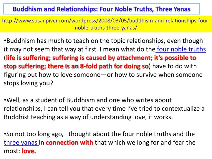Buddhism and Relationships: Four Noble Truths, Three