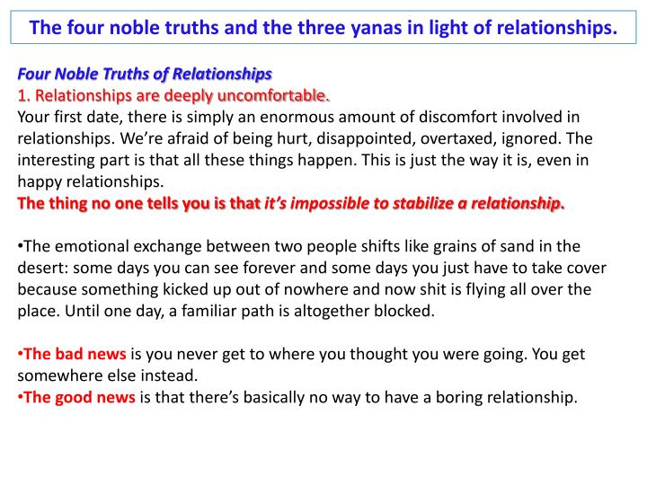 The four noble truths and the three
