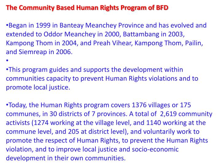 The Community Based Human Rights Program of BFD