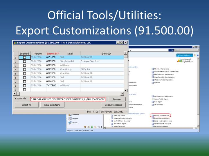 Official Tools/Utilities: