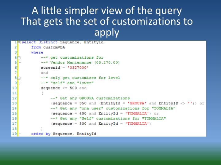 A little simpler view of the query