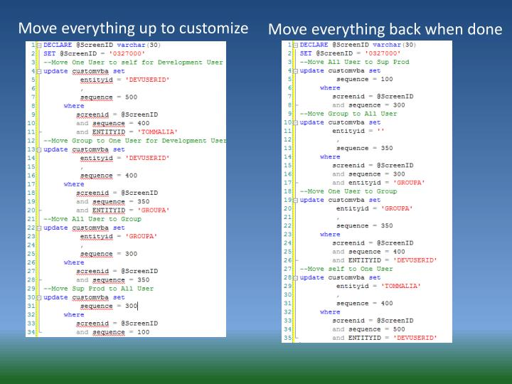 Move everything up to customize
