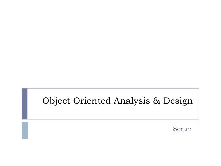 object oriented analysis design n.