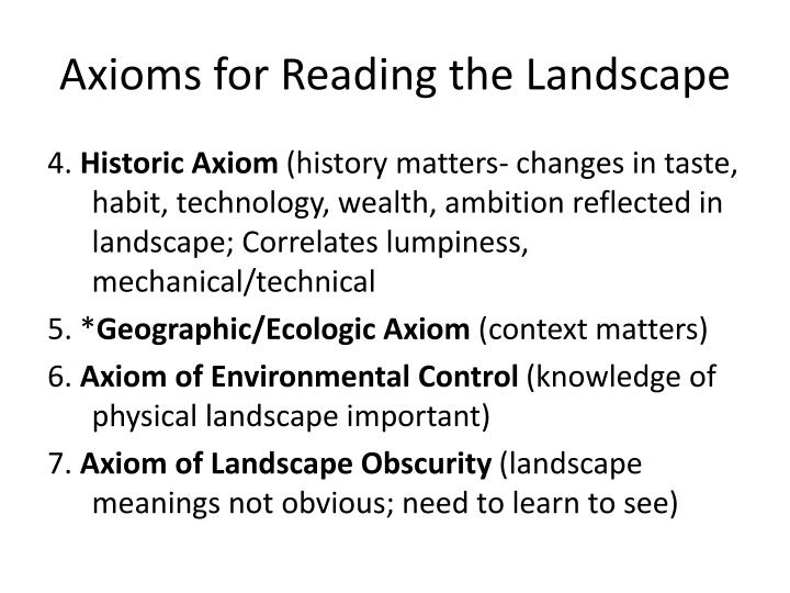 Axioms for Reading the Landscape