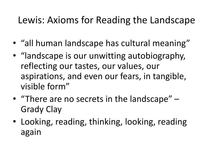 Lewis axioms for reading the landscape