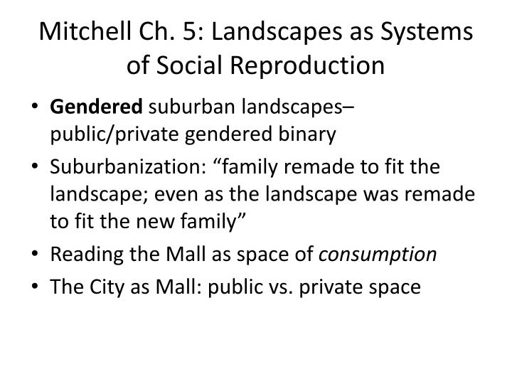 Mitchell Ch. 5: Landscapes as Systems of Social Reproduction
