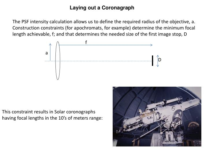 Laying out a Coronagraph
