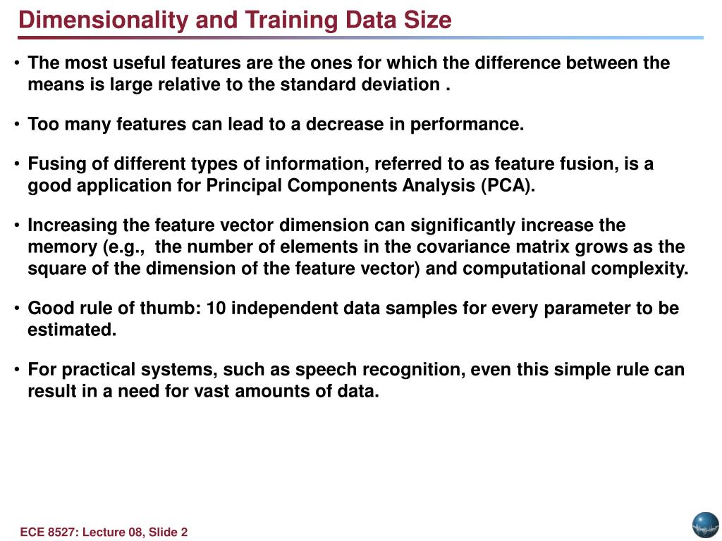PPT - LECTURE 08: DIMENSIONALITY, PRINCIPAL COMPONENTS
