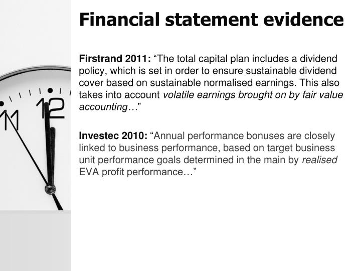 Financial statement evidence
