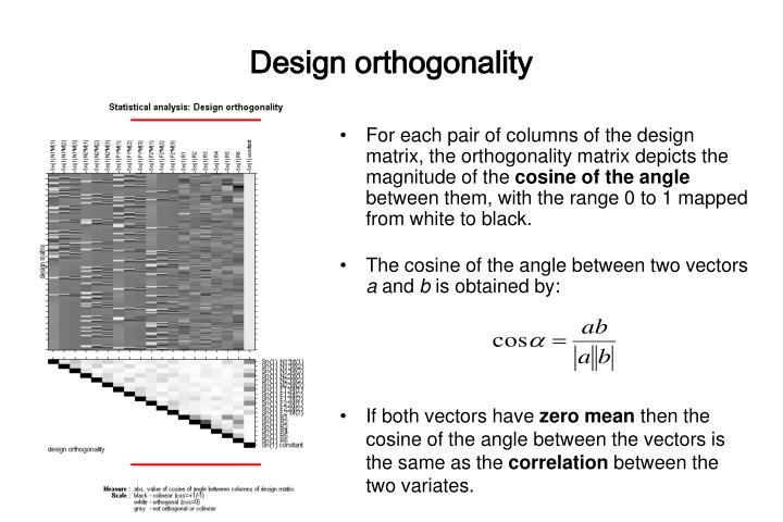 Design orthogonality