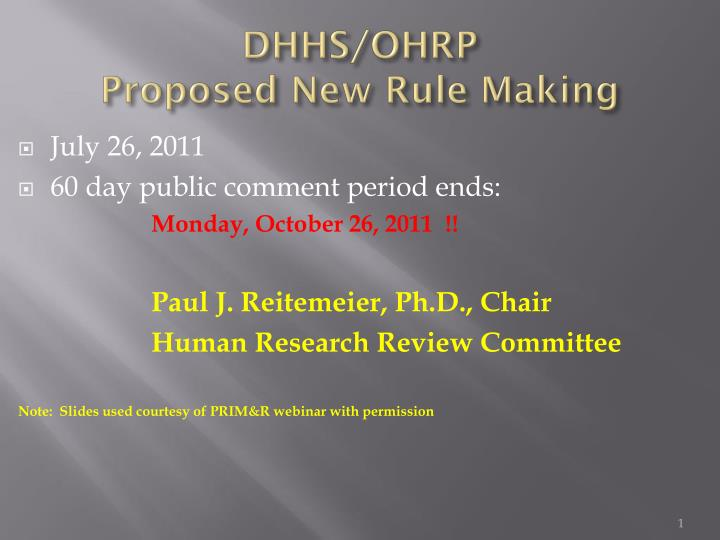 dhhs ohrp proposed new rule making n.