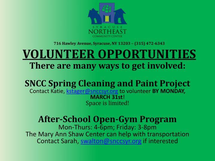 716 hawley avenue syracuse ny 13203 315 472 6343 volunteer opportunities