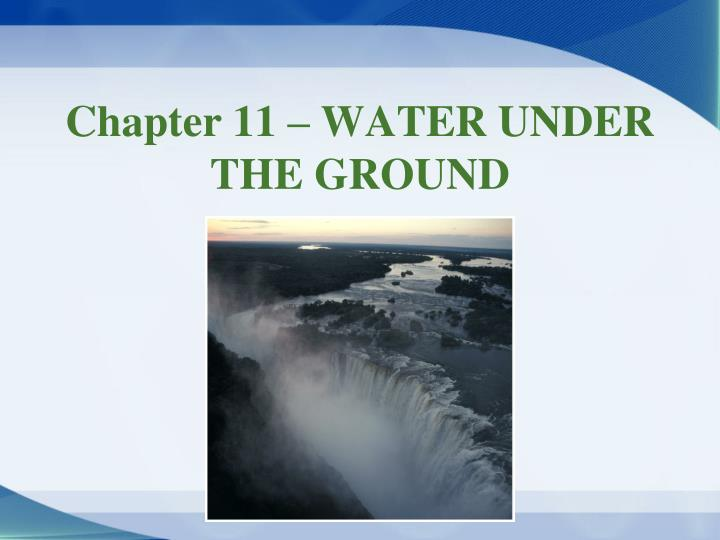 chapter 11 water under the ground n.