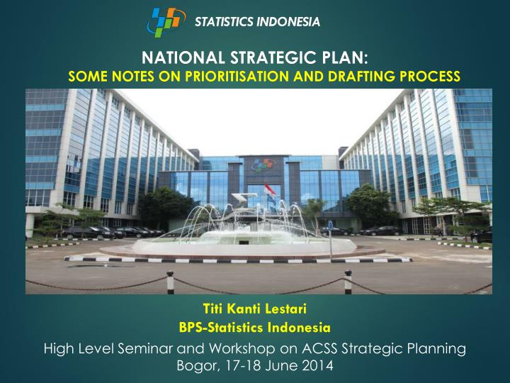 national strategic plan some notes on prioritisation and drafting process n.