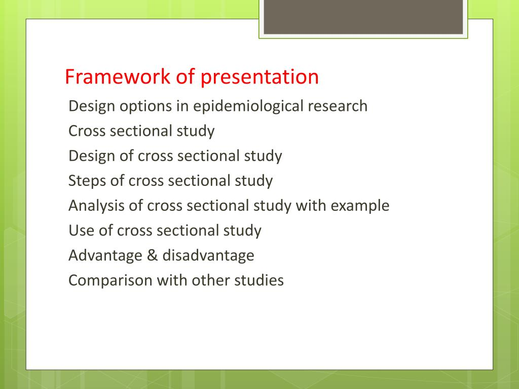 PPT - CROSS SECTIONAL STUDY PowerPoint Presentation, free ...