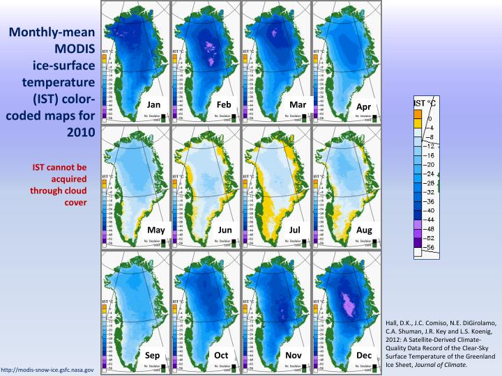 Monthly-mean MODIS          ice-surface temperature (IST) color-coded maps for 2010