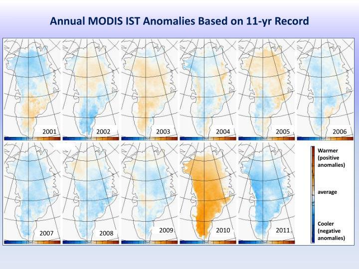 Annual MODIS IST Anomalies Based on 11-yr Record