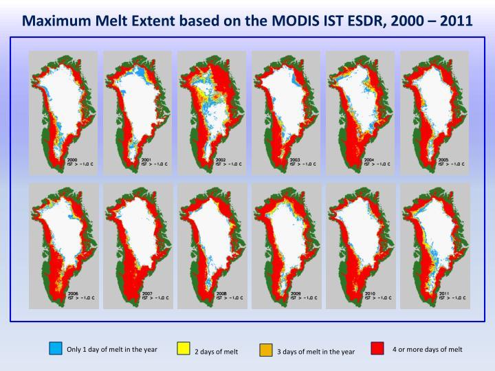 Maximum Melt Extent based on the MODIS IST ESDR, 2000 – 2011