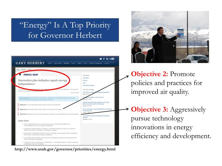 """Energy"" Is A Top Priority for Governor Herbert"