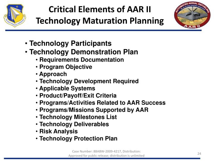 Critical Elements of AAR II Technology Maturation Planning