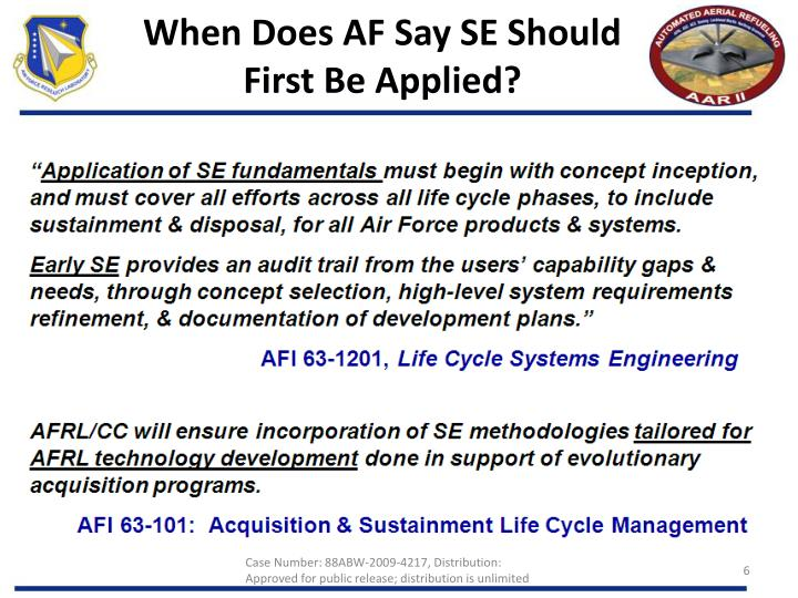 When Does AF Say SE Should First Be Applied?
