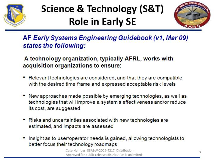 Science & Technology (S&T) Role in Early SE